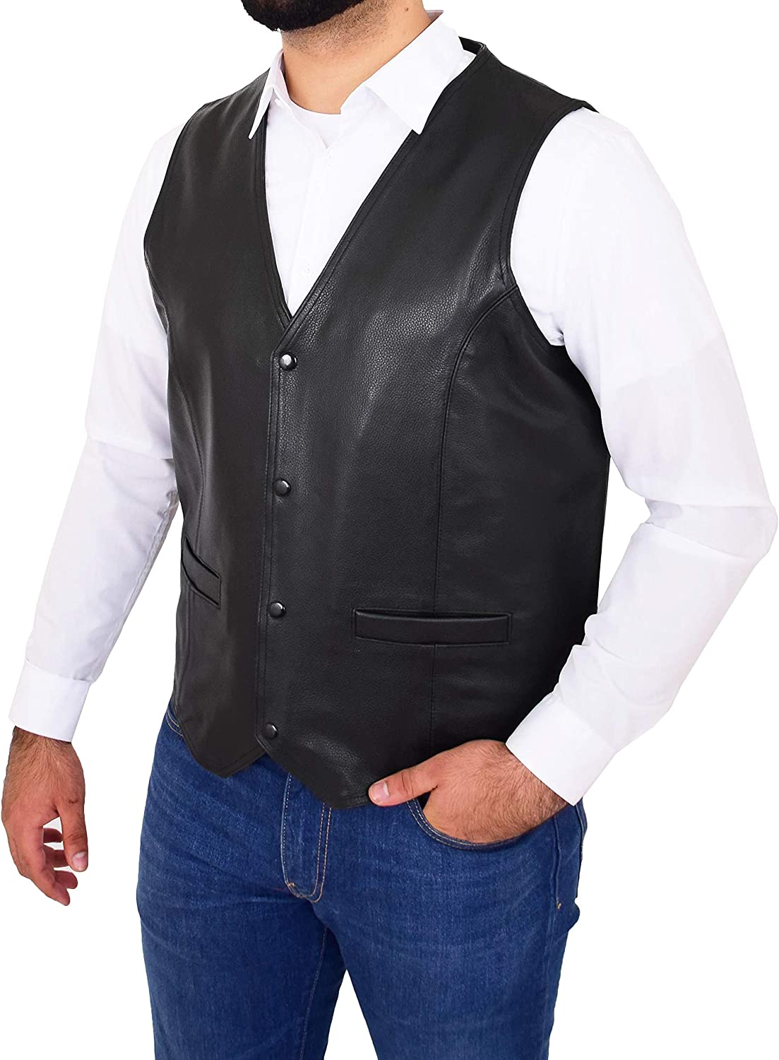 Mens Real Leather Waistcoat Motorcycle Biker Style Black Gillet Vest Top Quality