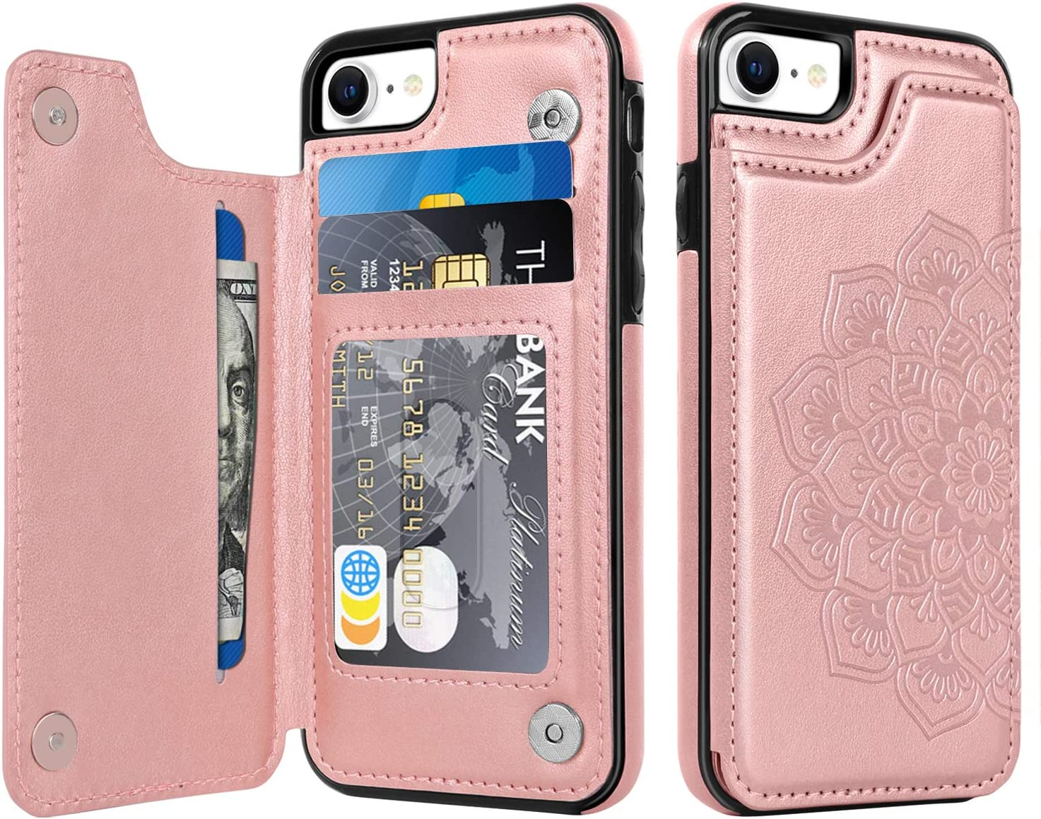BENTOBEN Wallet Case for iPhone SE 2020, iPhone 7 Case, iPhone 8 Case, PU Leather Heavy Duty Rugged Shockproof Protective Cases with Card Slots Cash Holder Phone Case for iPhone SE 2nd/7/8 -Rose Gold