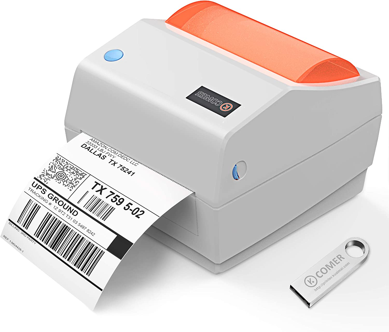 Comer Shipping Label Printer 4×6 -Commercial Direct Thermal Printer High Speed Barcode Label Maker Machine Compatible with Windows & Mac for Warehouse Ebay Amazon USPS FedEx DHL
