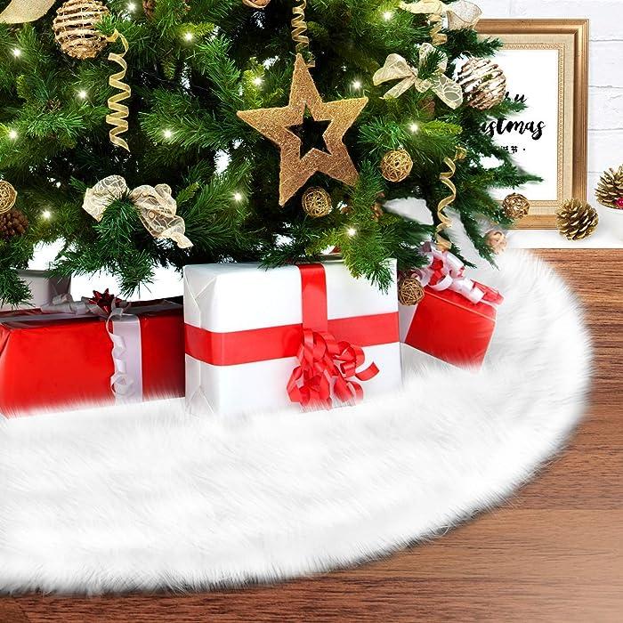 "Fur Tree Skirt, Ohuhu Xmas Tree Skirt, 35.4"" Large White Luxury Faux Fur Tree Skirt, Plush Christmas Tree Skirt Handmade Mat for Xmas Party Holiday Decorations"