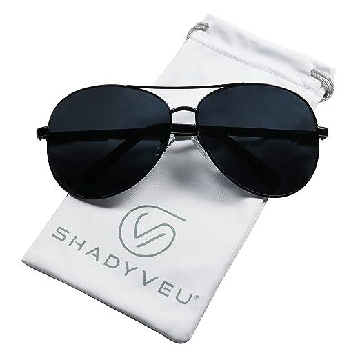 e109a90762 ShadyVEU - Classic Extra Large Wide Frame Metal Aviator Casual Oversize  Sunglasses (Black Frame