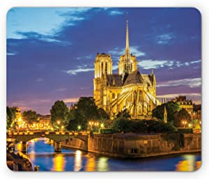 Lunarable Paris Mouse Pad, Notre Dame at Dusk Paris France Riverside Scenery Water Reflection, Rectangle Non-Slip Rubber Mousepad, Standard Size, Brown Yellow