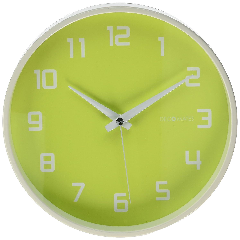 Amazon.com: DecoMates Non-Ticking Silent Wall Clock, Green Fruity ...
