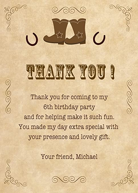 Amazon 30 Thank You Card Notes Brown Vintage Cowboy Boots