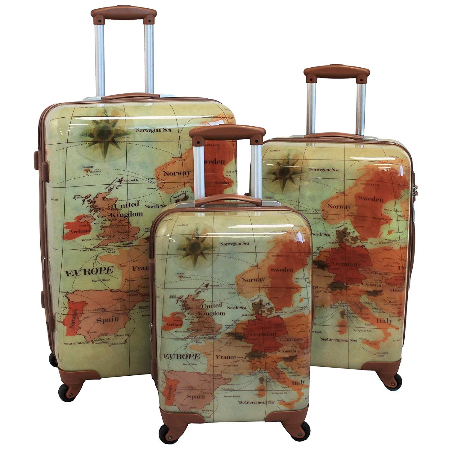 Amazon world traveler the euro 3 piece spinner hardside amazon world traveler the euro 3 piece spinner hardside luggage set with tsa lock luggage sets gumiabroncs Image collections