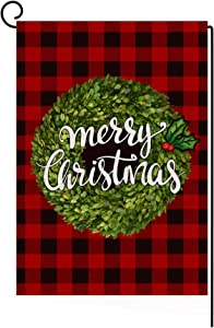 LANMEI Christmas Garden Flag Vertical Double Sided Red Black Buffalo Plaid Boxwood Wreath Garden Flag, Christmas Winter Holiday Farmhouse Yard Outdoor Decoration 12.5 x 18 Inch
