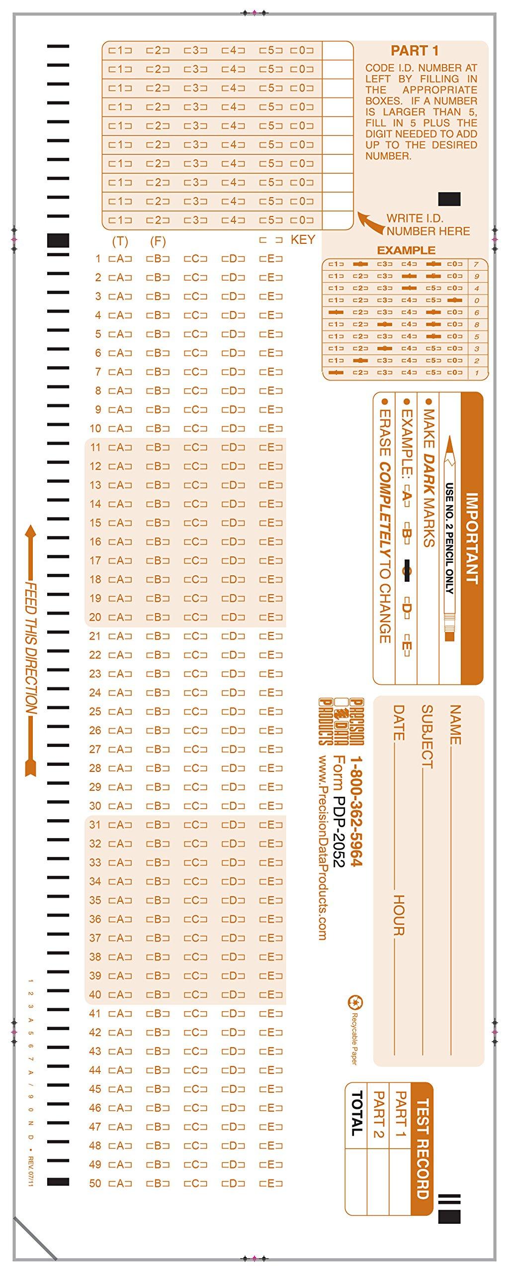 PDP-12052, 2052 C Compatible Test Sheet, (50/pkg)