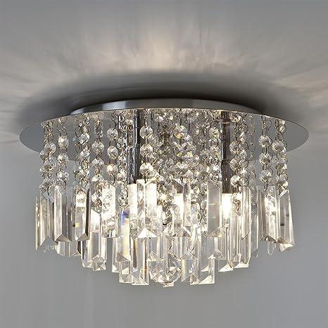 Moderna Lámpara de techo de cristal circular con cromo ...