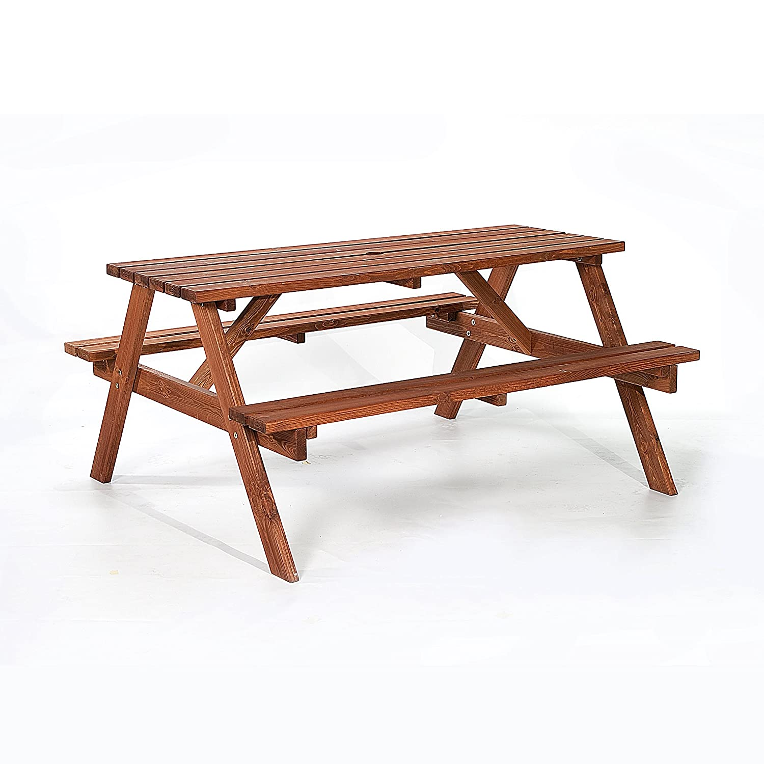 BrackenStyle Brown Picnic Pub Bench 6 Seater Wooden Garden Patio Table Thick Timbers Dip Treated