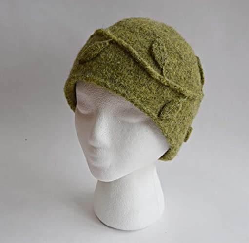 Amazon.com  Hand made Retro Olive Green Felted Wool Leaf and Vine Applique  Winter Beanie  Handmade 7d064d09e17