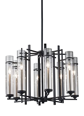 Feiss F2628 8AF BS Ethan Glass Candle Chandelier Lighting, Iron, 8-Light 26 Dia x 19 H 480watts