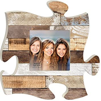 Amazoncom Rustic Wood Look 12 X 12 Inch Wood Puzzle Piece Wall