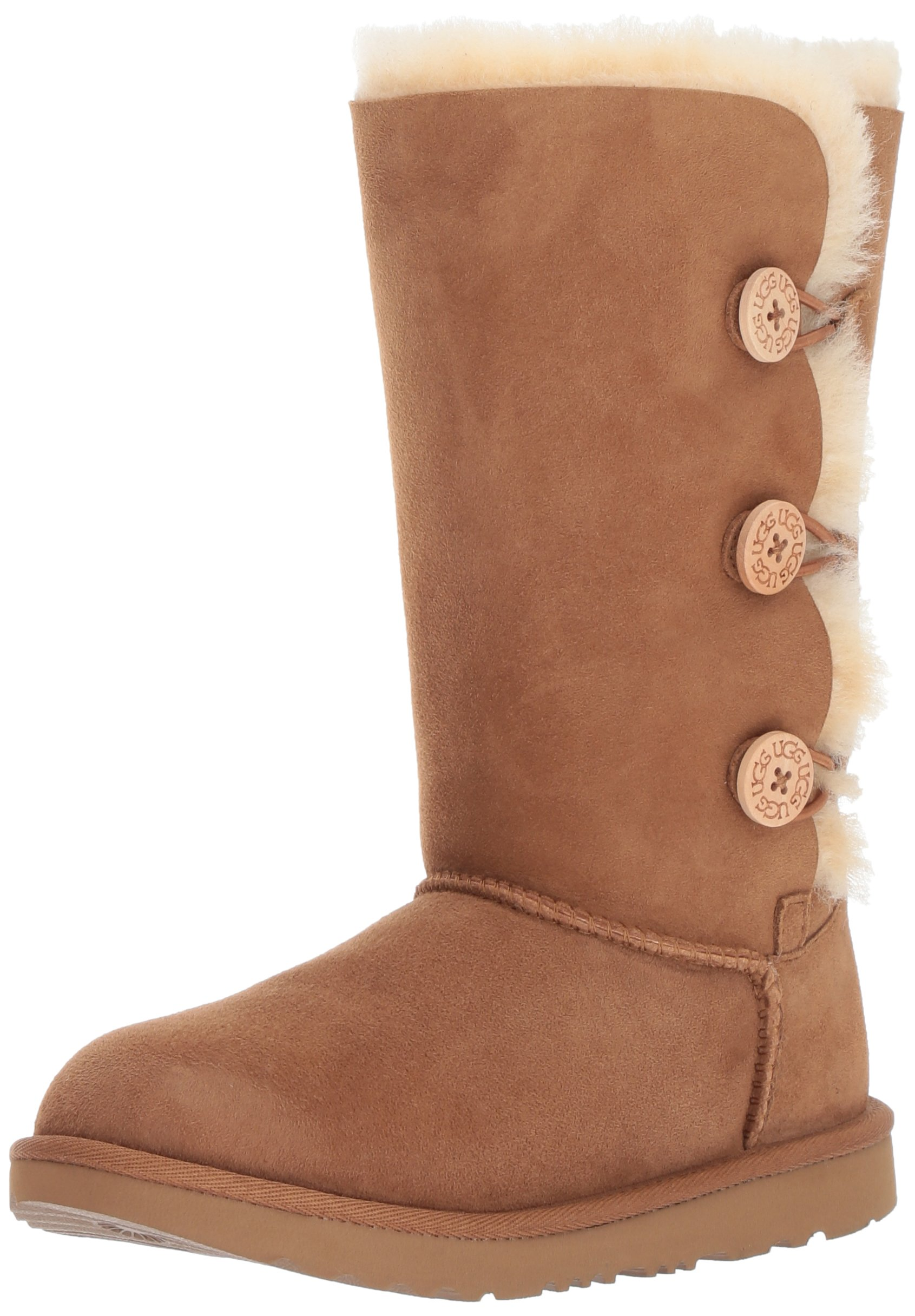 UGG Girls K Bailey Button Triplet II Pull-on Boot, Chestnut, 3 M US Little Kid