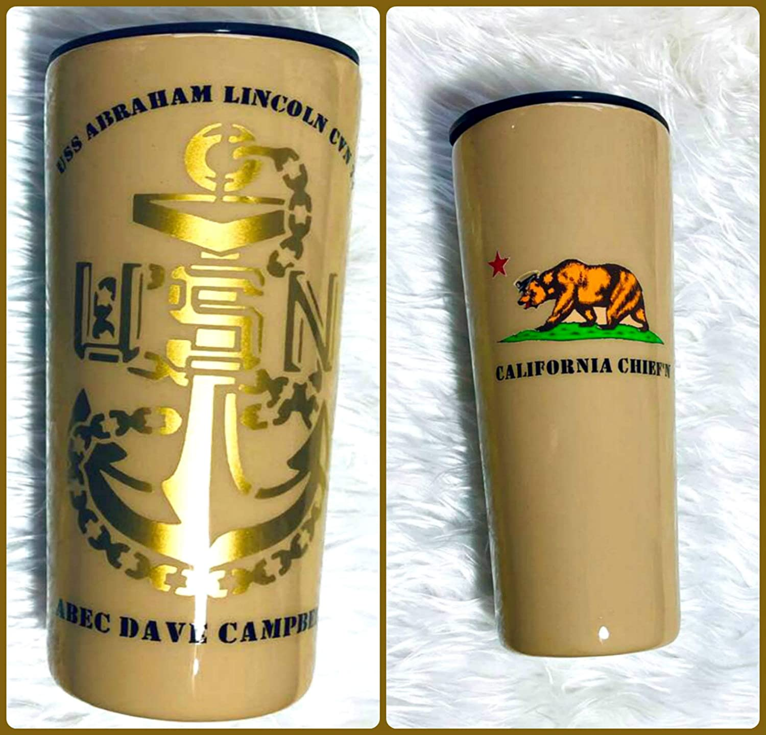Insulated Black Navy 22 oz Gift for Dad Navy Chief CPO Custom Tumbler Khaki 100/% Customized U.S You Create Your Own Tumbler