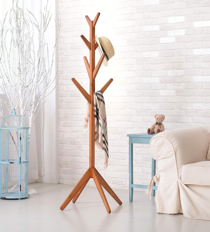 Neasyth Solid Wood Coat Rack Simple Entryway Standing Hall Tree Tetrapod Base for Hat Jacket Coat Hanger Rack in Living Room Bedroom Teak Color