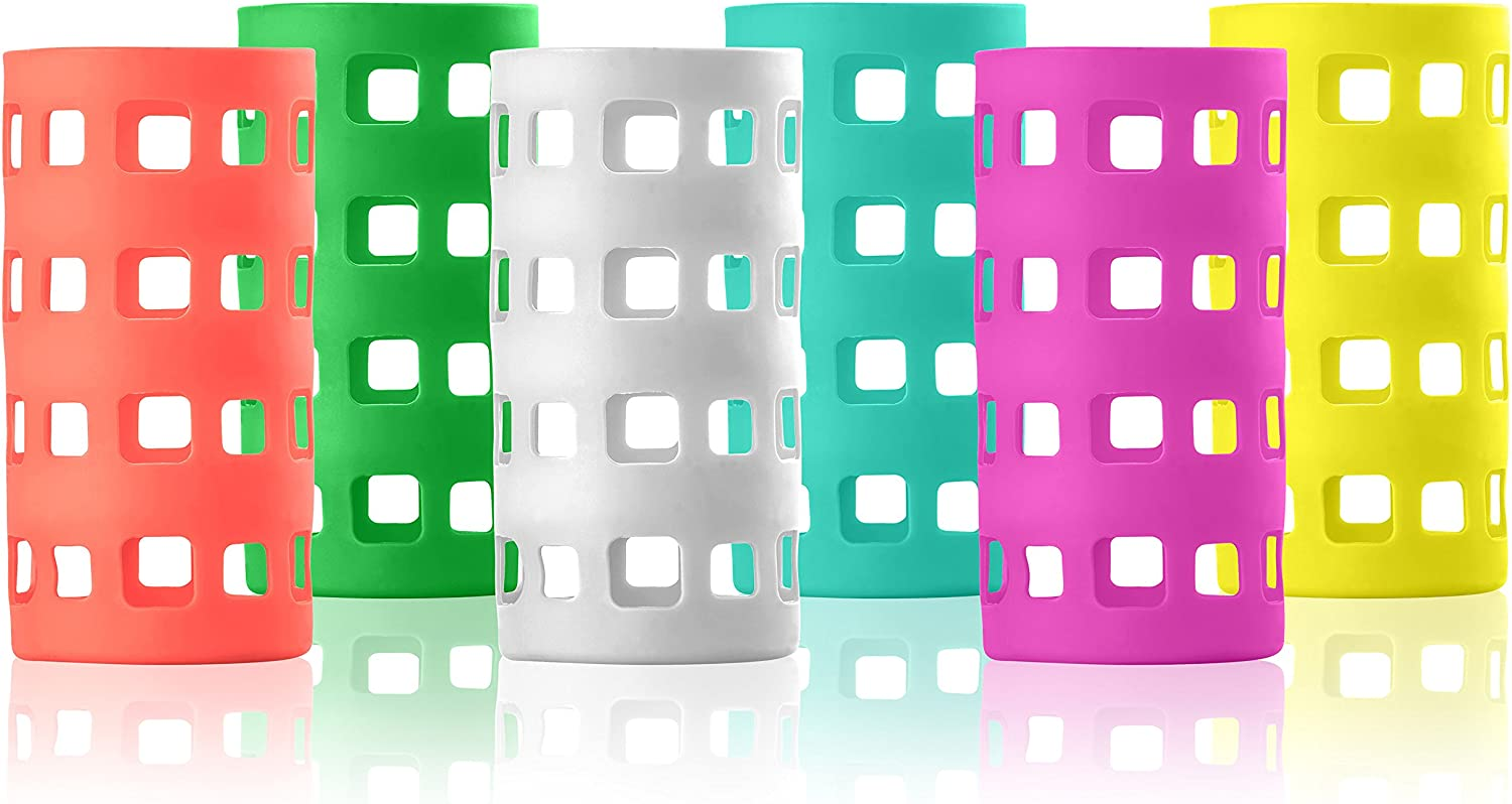 Silicone Glass Water Bottle Sleeves - Vibrant Color 6-Pack of Protective Holders 16-18 oz Capacity - Anti-Slip Protection for Beverage Containers - Insulating Carriers for Smoothies and Juices