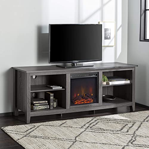 Walker Edison Minimal Farmhouse Wood Fireplace Universal Stand for TV s up to 80 Flat Screen Living Room Storage Shelves Entertainment Center, 70 Inch, Charcoal Grey
