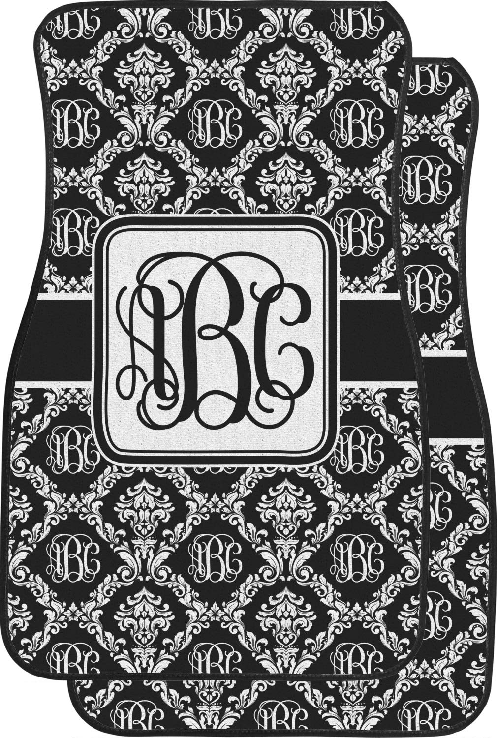 RNK Shops Monogrammed Damask Car Floor Mats (Front Seat) (Personalized)