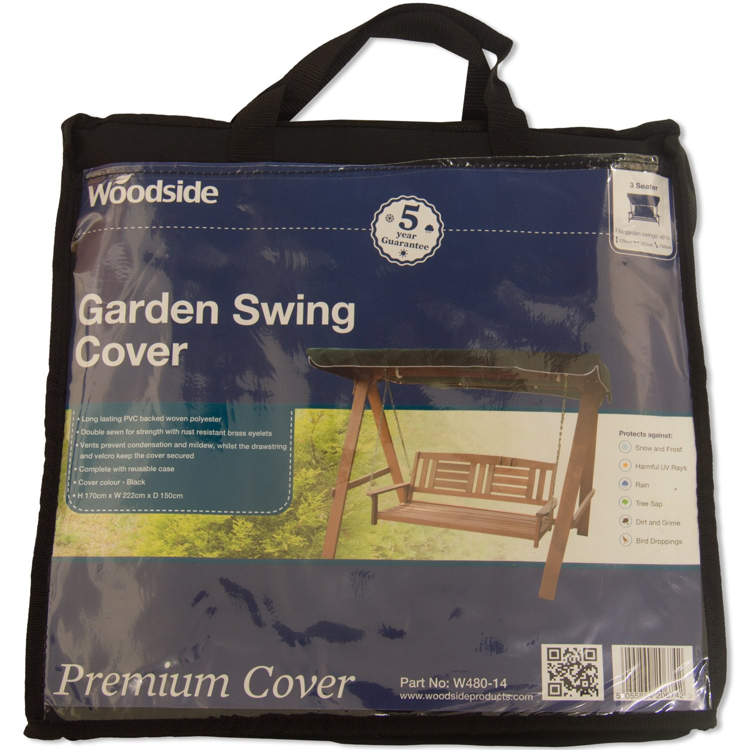 5.6ft x 7.3ft x 5ft 5 YEAR GUARANTEE Woodside Black 3 Seater Outdoor Garden Swinging Hammock Cover 1.7m x 2.22m x 1.5m