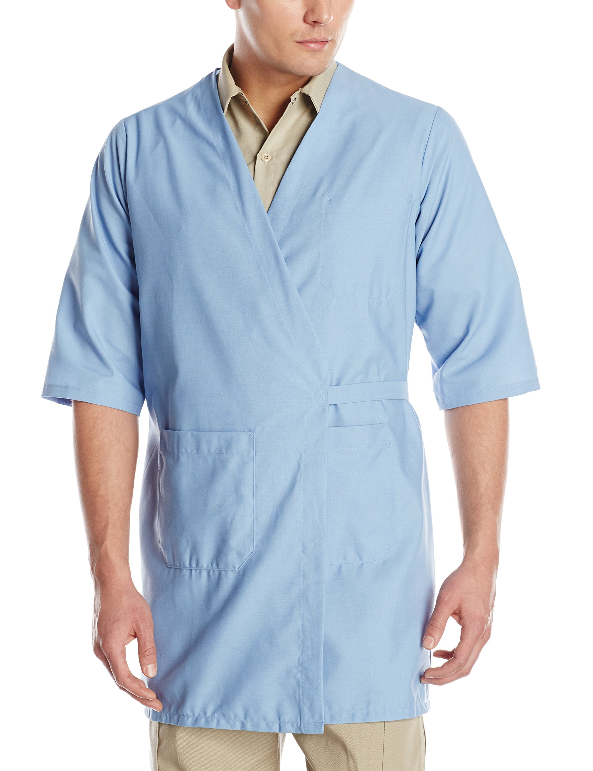 Red Kap Men's CollarleShort Sleeve Butcher Wrap, Light Blue, Small
