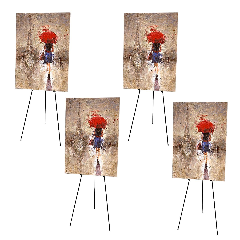 Kurtzy confezione 4 Cavalletti - Cavalletto Studio - Cavalletto Pieghevole -Cavalletto Artista Treppiede Arte Artigianato Espositore Disegno Tavola Artista Schizzo Pittura Portatile Cavalletto Esterno