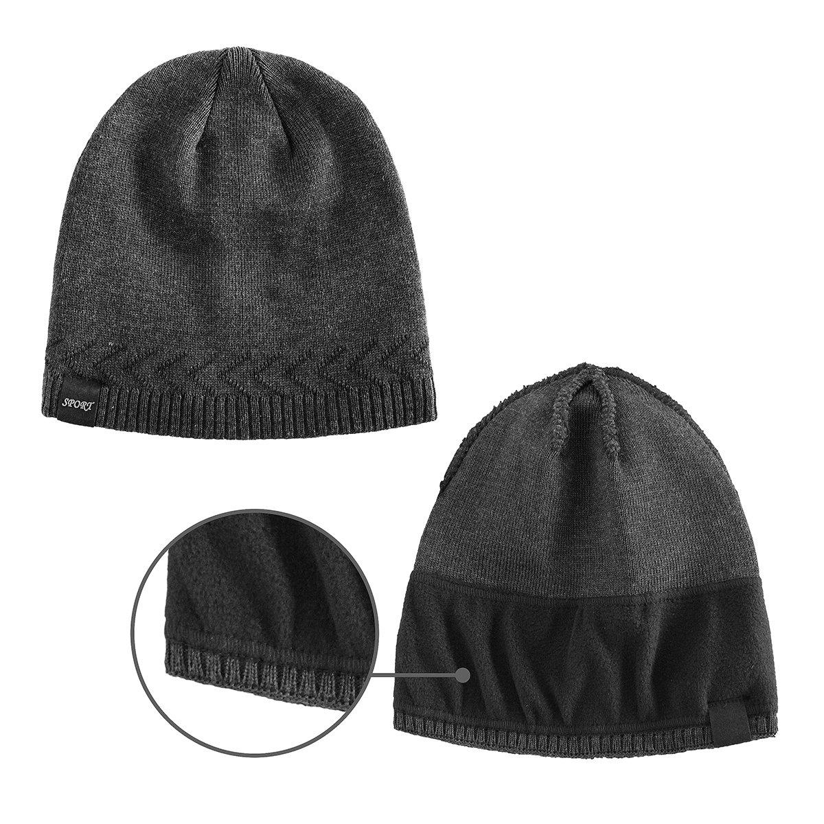 076ed90b612 OMECHY Mens Winter Warm Knitting Hats Plain Skull Beanie Cuff Toboggan Knit  Cap 4 Colors Black larger image