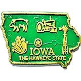 Iowa the Hawkeye State Map Fridge Magnet