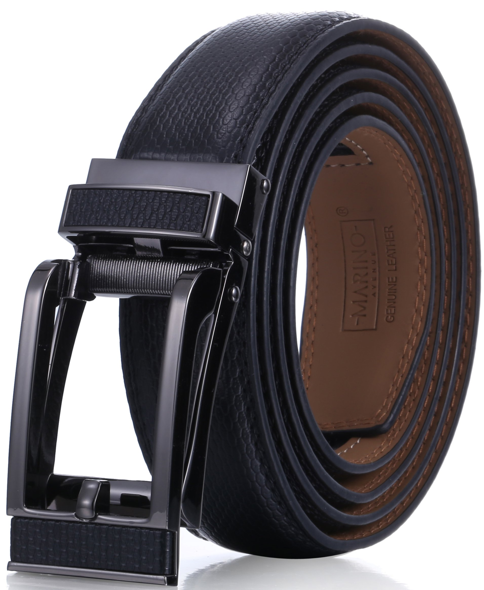 Marino Avenue Mens Genuine Leather Ratchet Dress Belt with Open Linxx Leather Buckle, Enclosed in an Elegant Gift Box - Black - Style 155 - Custom Up to 44'' Waist