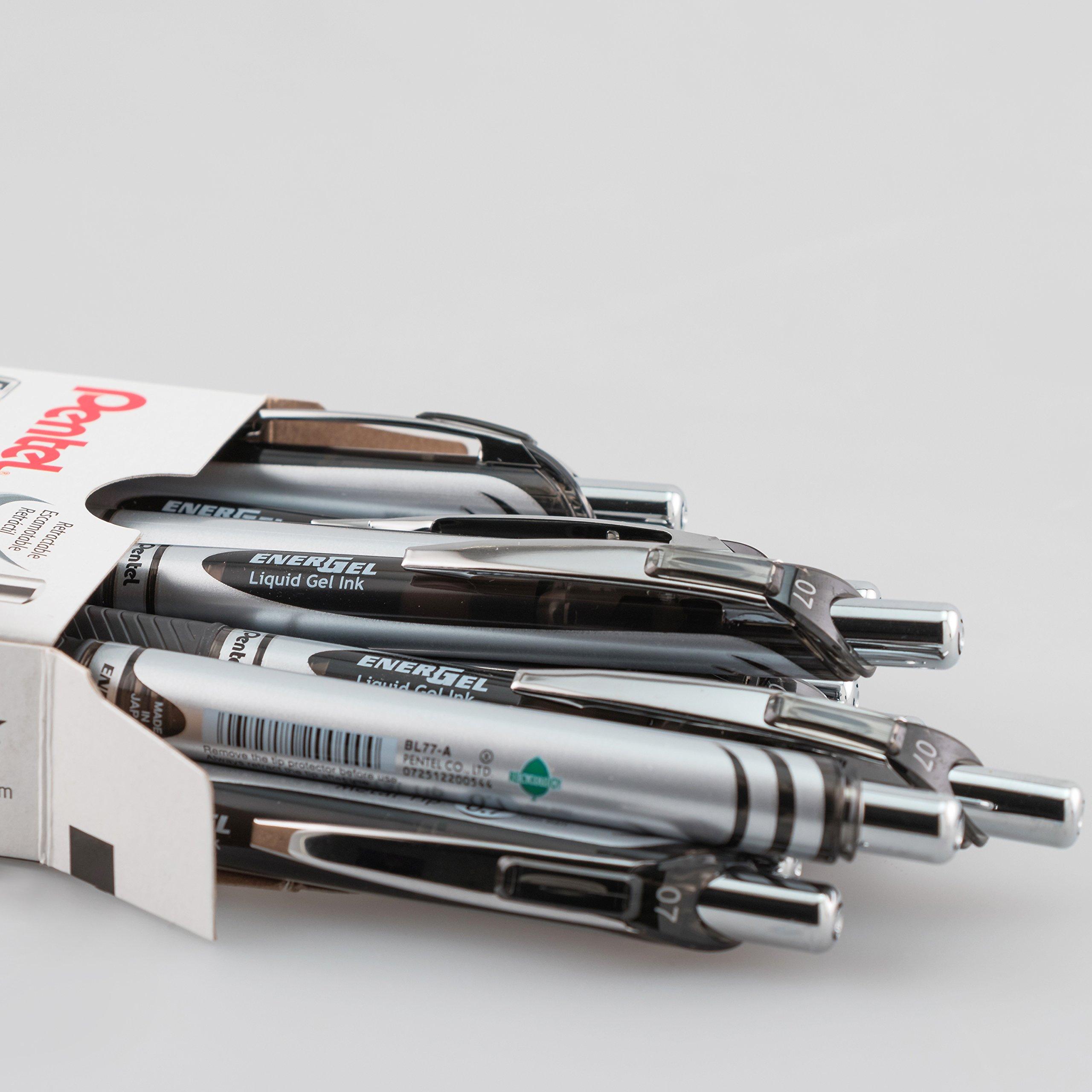 Pentel EnerGel RTX Retractable Liquid Gel Pen, 0.7mm Medium Line, Metal Tip, Black Ink, 12 Pack (BL77-A) by Pentel (Image #3)