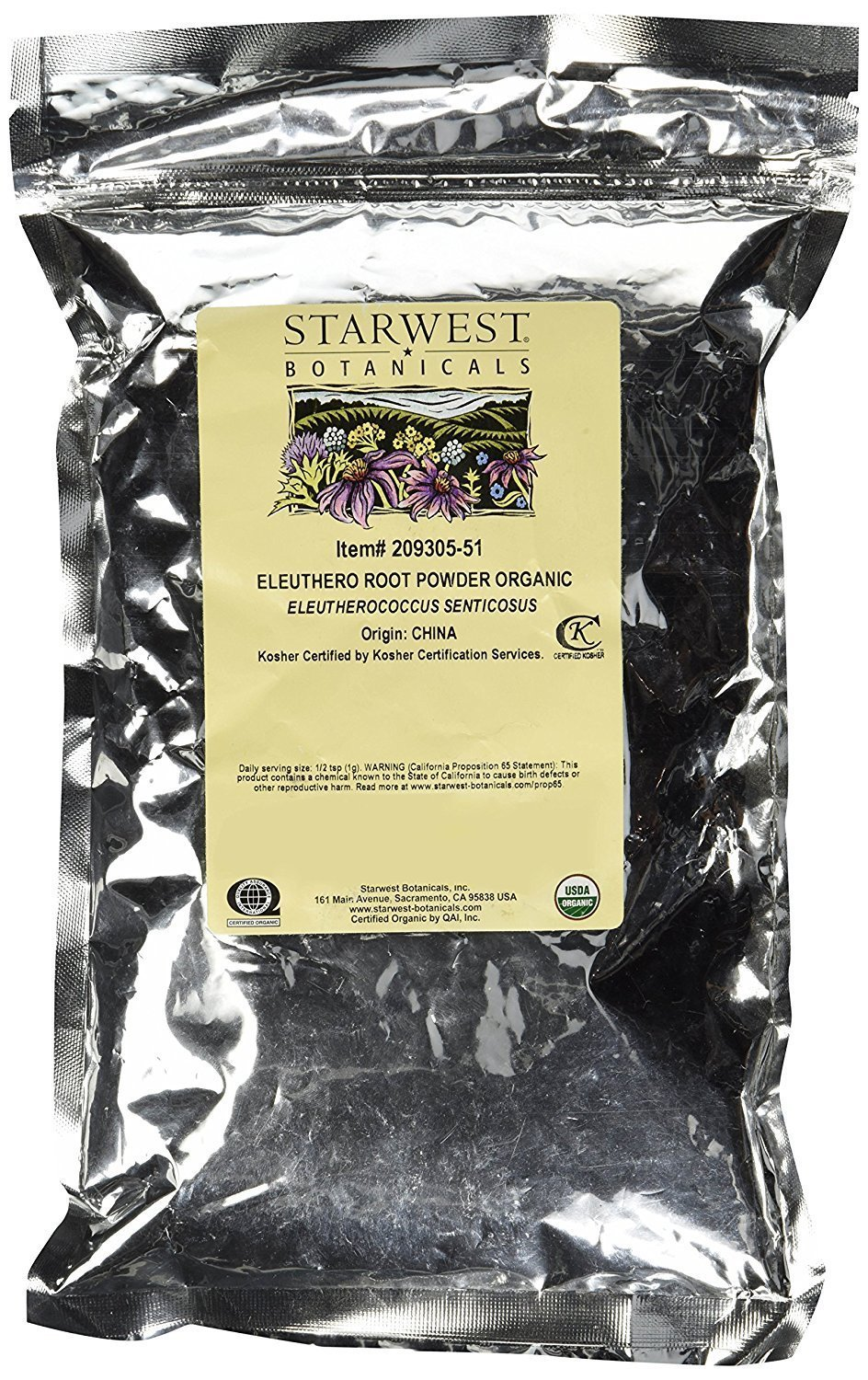 Organic Eleuthero Root Powder, 1lb