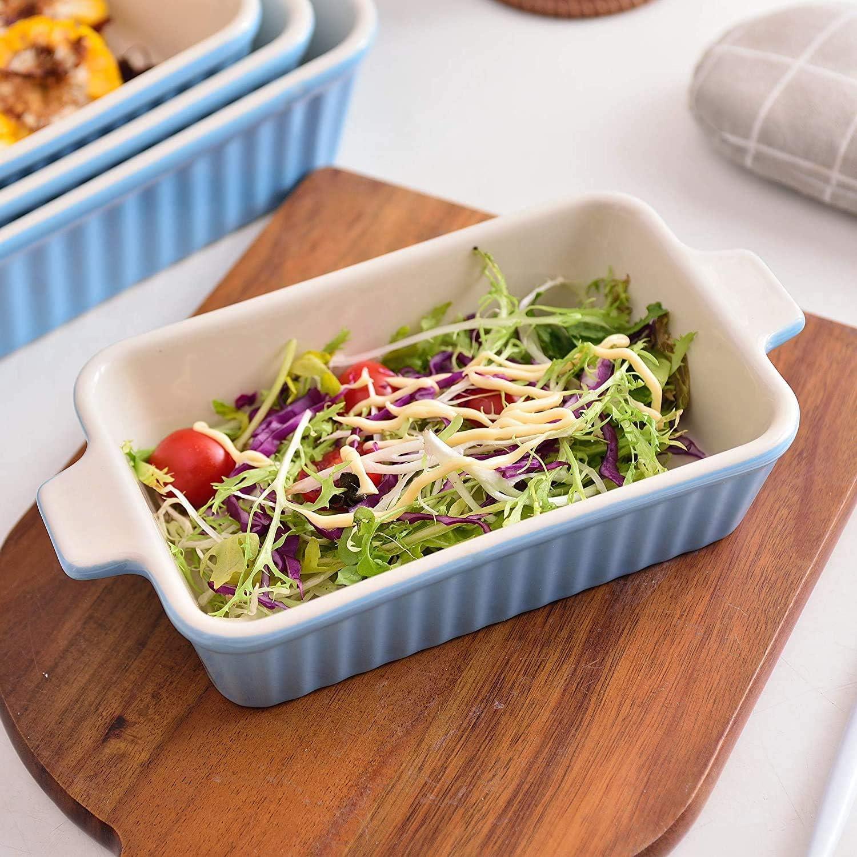 9// 11 // 12// 13,3 Blu teglia Rettangolare Set di 4 teglia da Forno a Tavolo con Manici in Ceramica Ideale per Lasagne//Torta//casseruola//Tapas Dish Serie da Forno