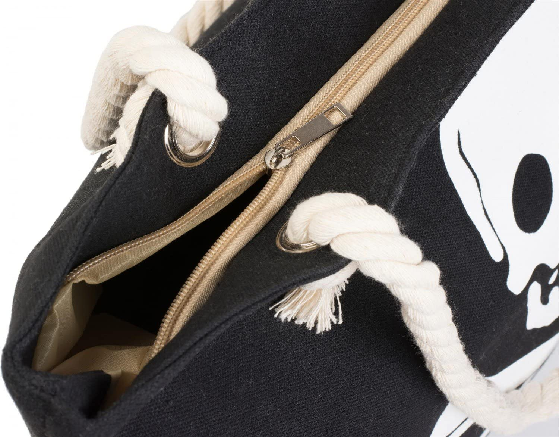 se/ñora 02012104 Bolso de ba/ño Bolso de Hombro Bolso de Tipo /«Shopper/» Color:Blanco Oliva styleBREAKER Bolso de Playa con Estampado de Calavera y Cremallera