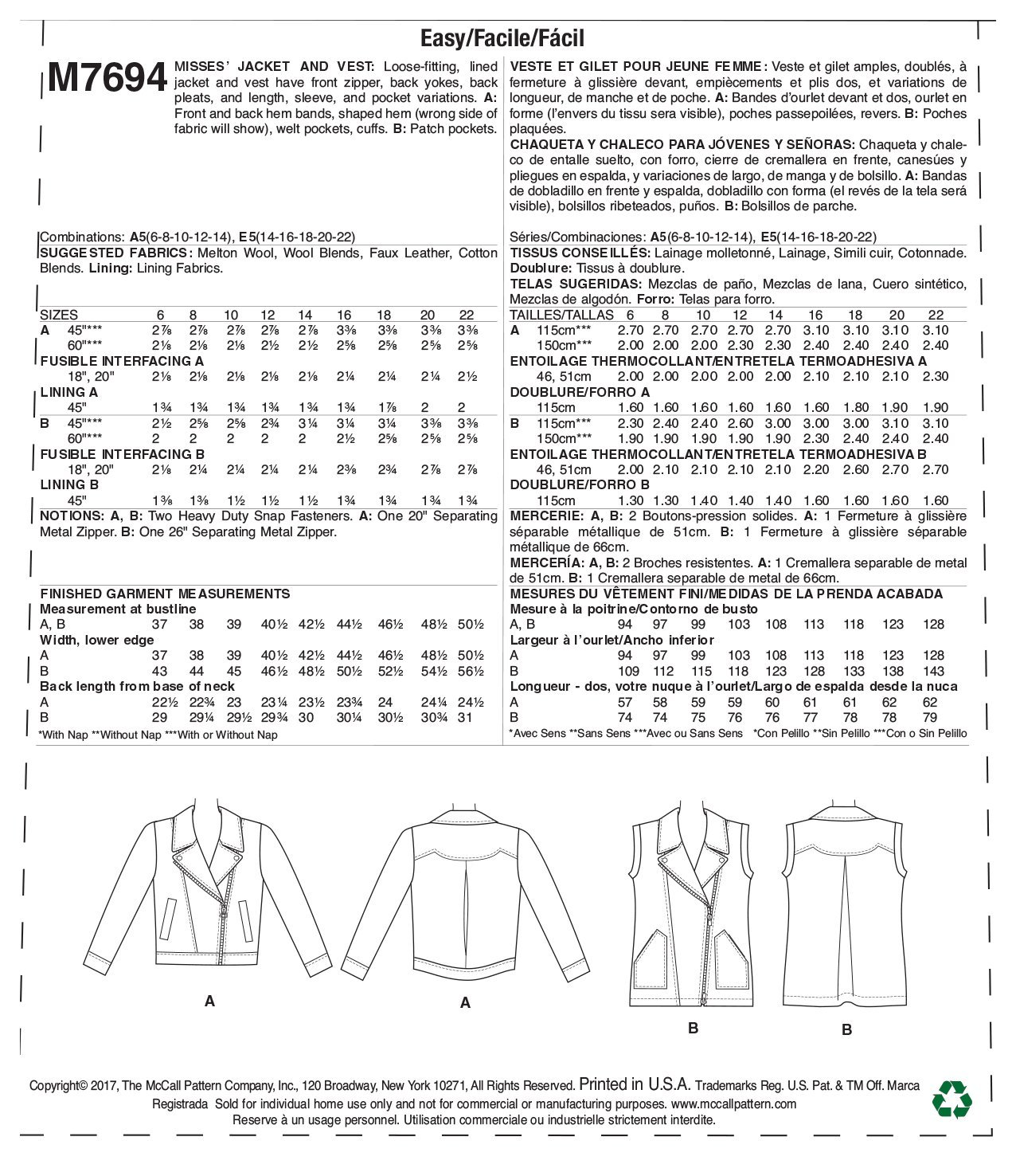 Amazon.com: McCall Patterns M7694A50 Misses Moto-Style Jacket and Vest: Arts, Crafts & Sewing
