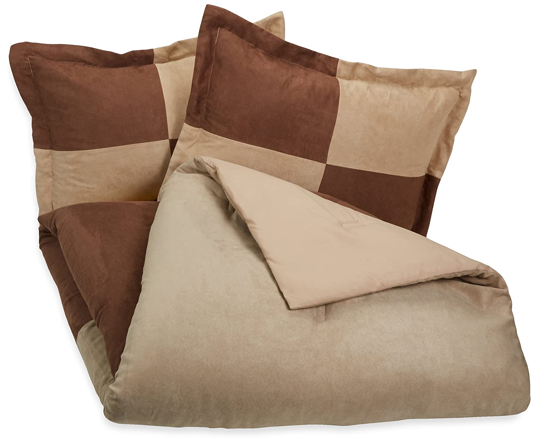 AmazonBasics 3-Piece Two-Tone Microsuede Comforter Set - Full/Queen, Chocolate