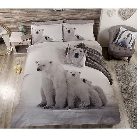 Polar Bear Ours Polaire Animaux Mignons Parure De Lit Avec Housse De