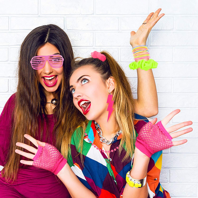 WATINC 24Pcs 80er Jahre Retro Kost/üme Neon Outfit Zubeh/ör Haargummis Haare Pink Shutter Brille Fingerless Fishnetz Handschuhe Neon Red Ohrringe Gelee Armb/änder Halskette Party Accessoires f/ür Frauen