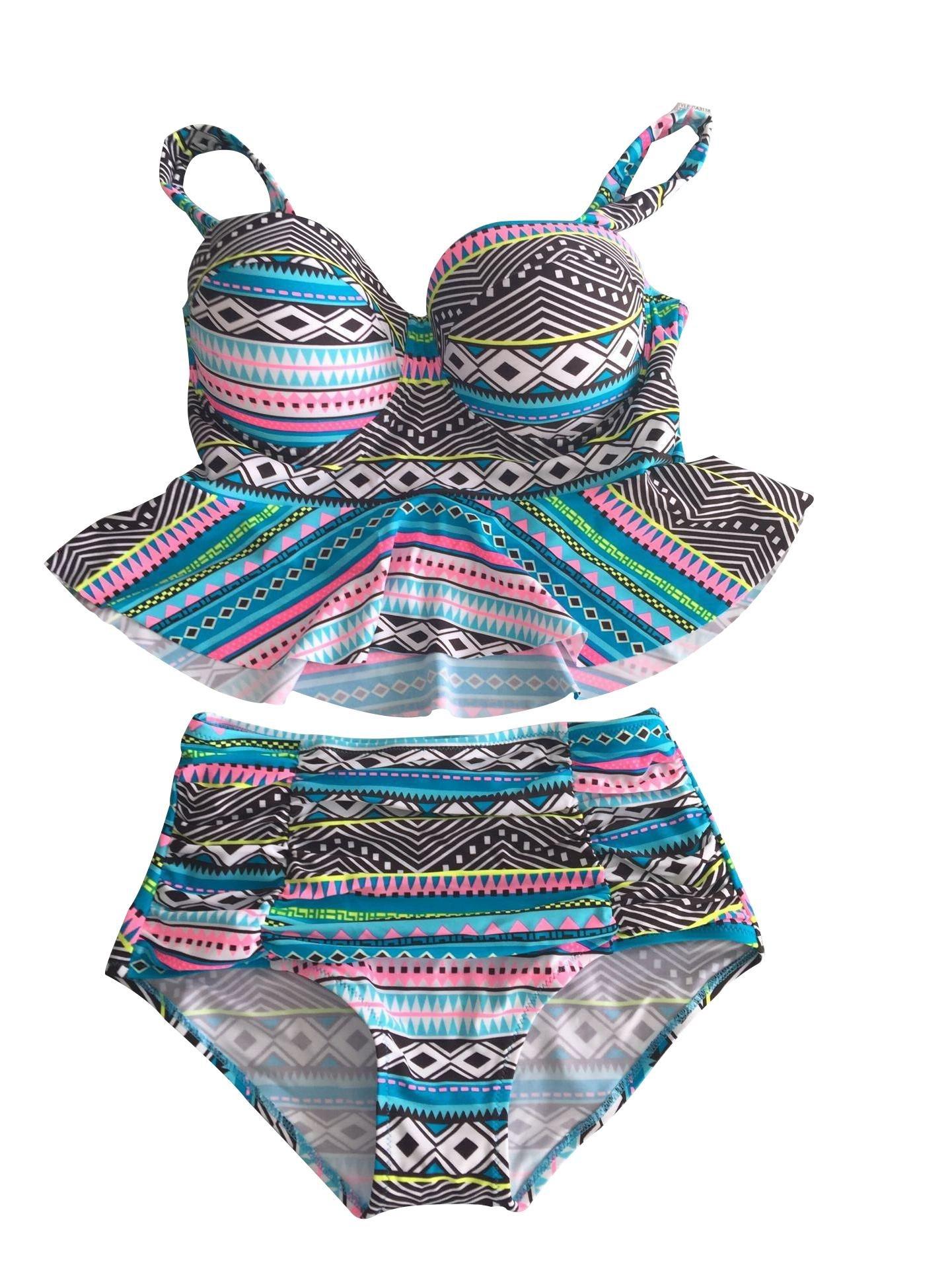 Ruffle Falbala Peplum Push up High Waist Bikini Set Tribal Swimsuit-KJ5577-BET5