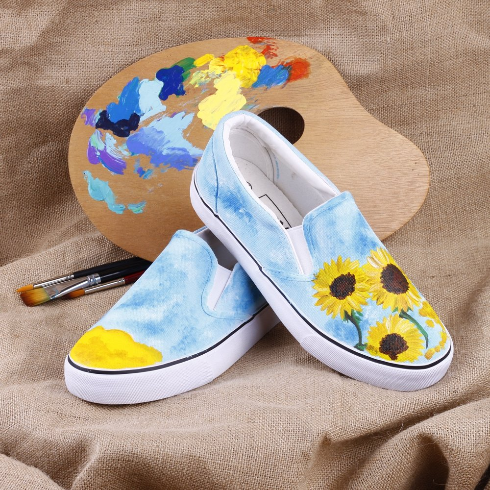 06956f2499d Amazon.com  Oil Painting Canvas Sneakers Starry Night Almond Blossom by  Vincent Van Gogh Canvas Shoes  Shoes