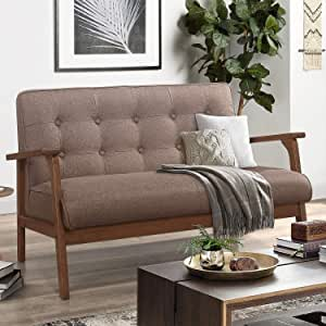 Faux Leather Upholstered Wooden 2-Seater lounge Couch for Living Room Vintage Armrest Loveseat Couch RELAXIXI Mid-Century Retro Modern Solid Loveseat Sofa