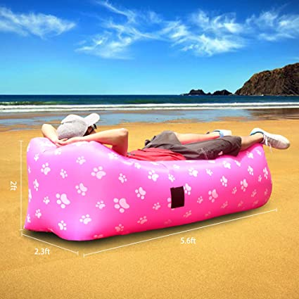 Sofa, Sillón, Tumbona, Hamaca y Puff de Aire Inflable Portatil de 2.5 Mts Plegable. Soporta hasta 180 Kg. Ideal para Playa, Camping, Jardin y Piscina.