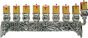 """Silver Plated Oil Wall Menorah - Fits Standard Chanukah Oil Cups and Large Candles - 3"""" High"""
