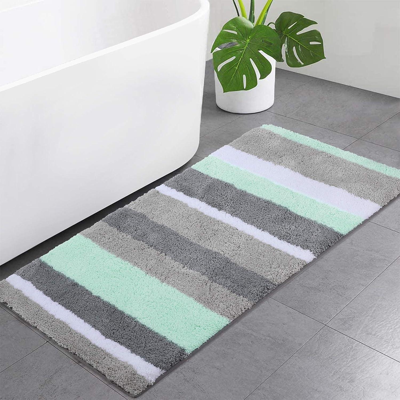 Buganda Microfiber Stripe Bathroom Rugs(Green and Grey, 24
