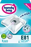 Handy Bag - E81 - 4 Sacs Aspirateurs, pour Aspirateurs Electrolux, Progress, Rowenta et Tornado, Fermeture Hermétique, Filtre Anti-Allergène, Filtre Moteur