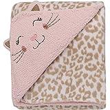 Rashti & Rashti 2 Ply Reversible Kitty Embroidered Luxe Blanket with Cheetah Print, Pink/ Tan
