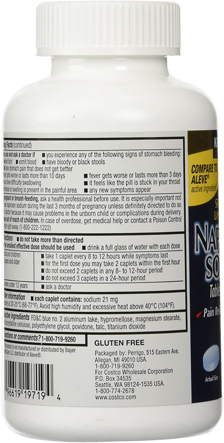 Naproxen Sodium by Kirkland Signature - 400 caplets 220 mg Non Prescription Strength - Compare to the active ingredient in Aleve: Health & Personal Care