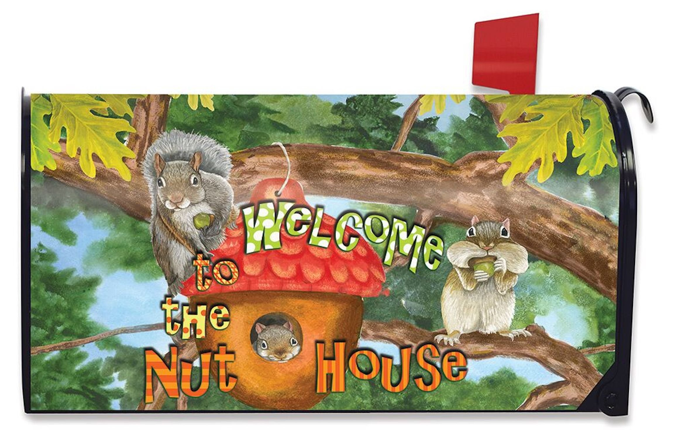 Briarwood Lane Welcome to the Nut House Summer Mailbox Cover Humor Squirrels Standard