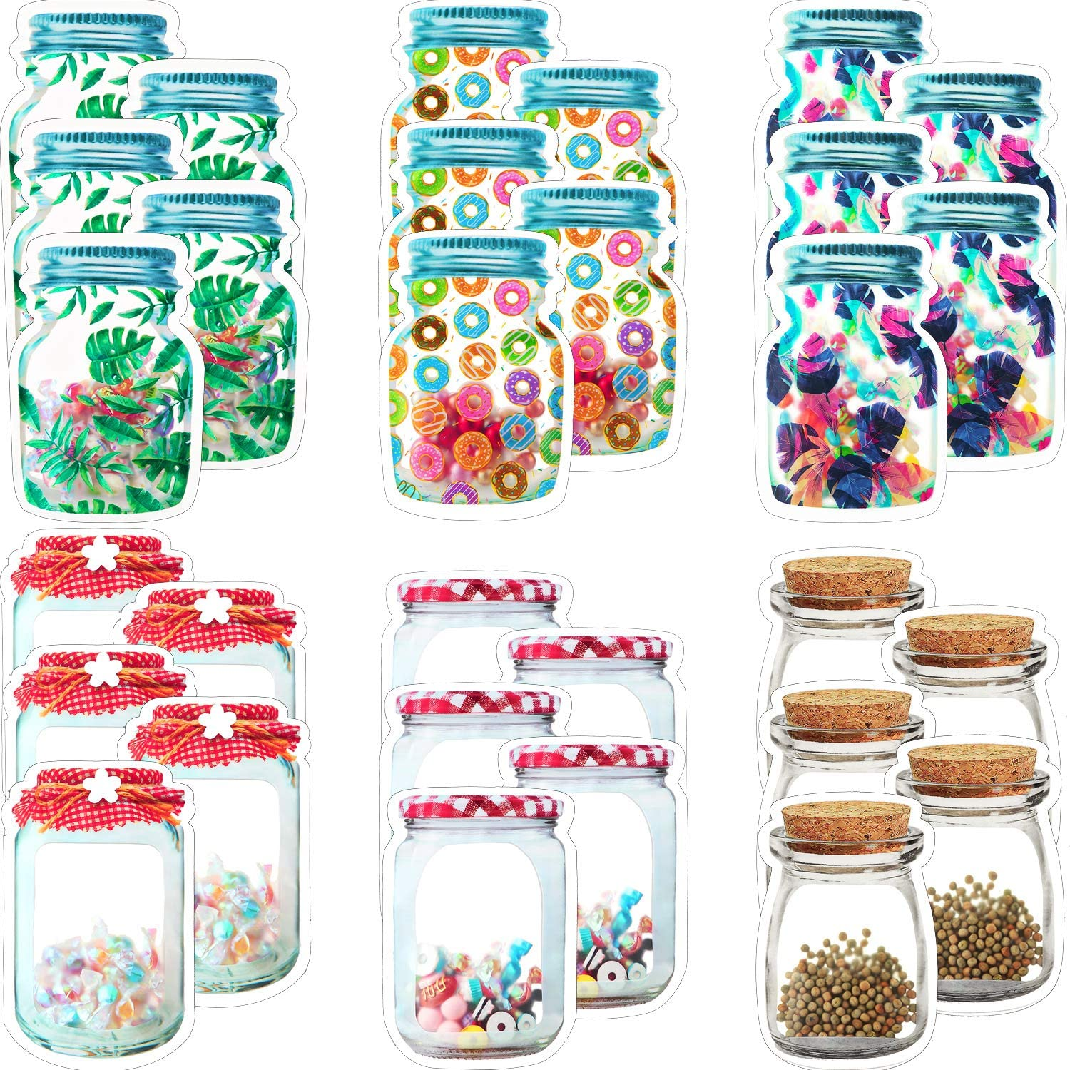 30 Pieces Mason Jar Bottle Bags Storage Bags Snack Sandwich Zipper Bags Reusable Airtight Seal Storage Bags Nuts Candy Bag Leak-Proof Food Bags for Travel Camping Picnic Food Organizer