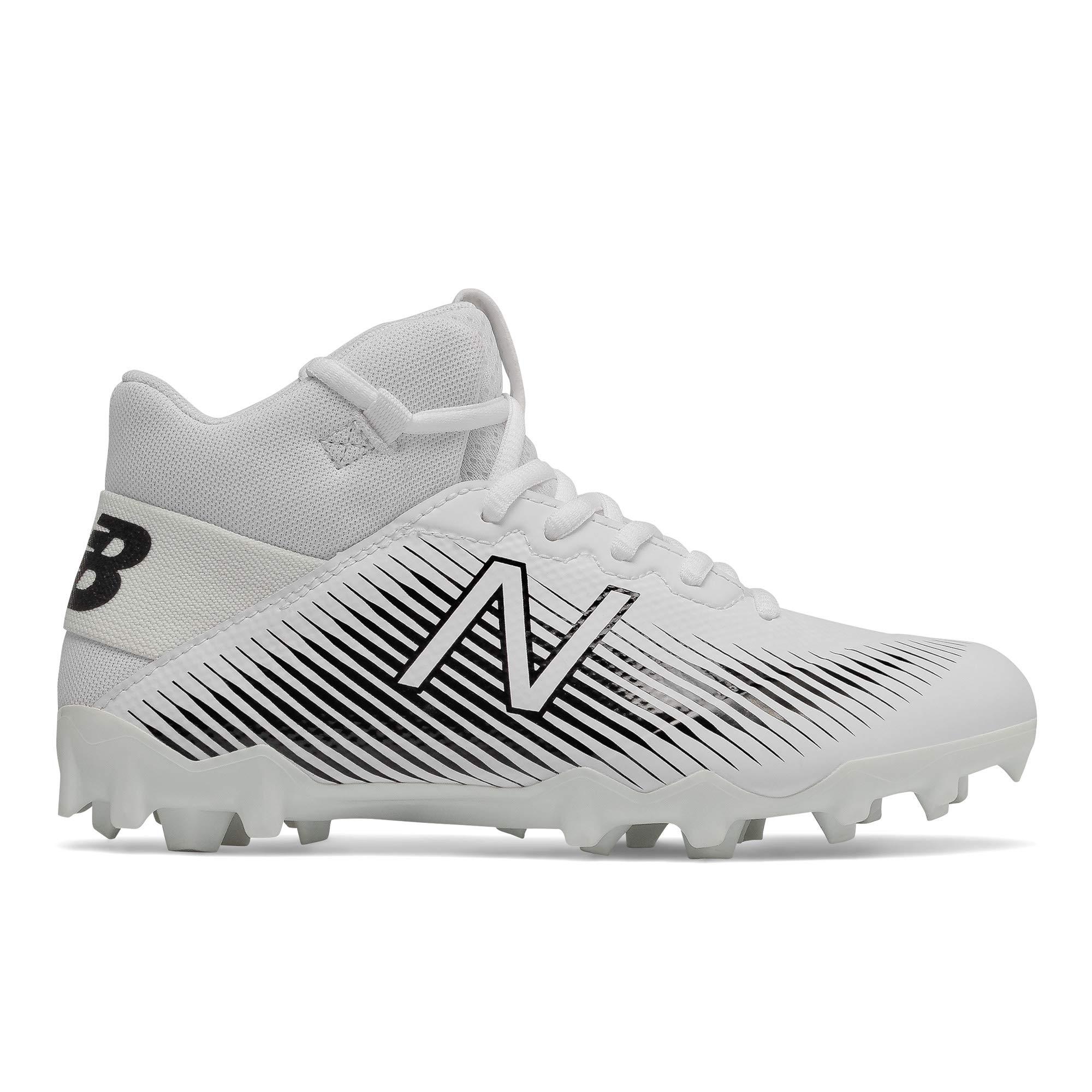 New Balance Boys' Freeze V2 Agility Lacrosse Shoe, White/Black, 4 M US Big Kid