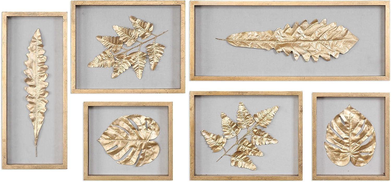 Uttermost 04074 Golden Leaves 28 Shadow Box Set Of 6 Gold Leaf Natural Linen Finish Garden Outdoor Amazon Com