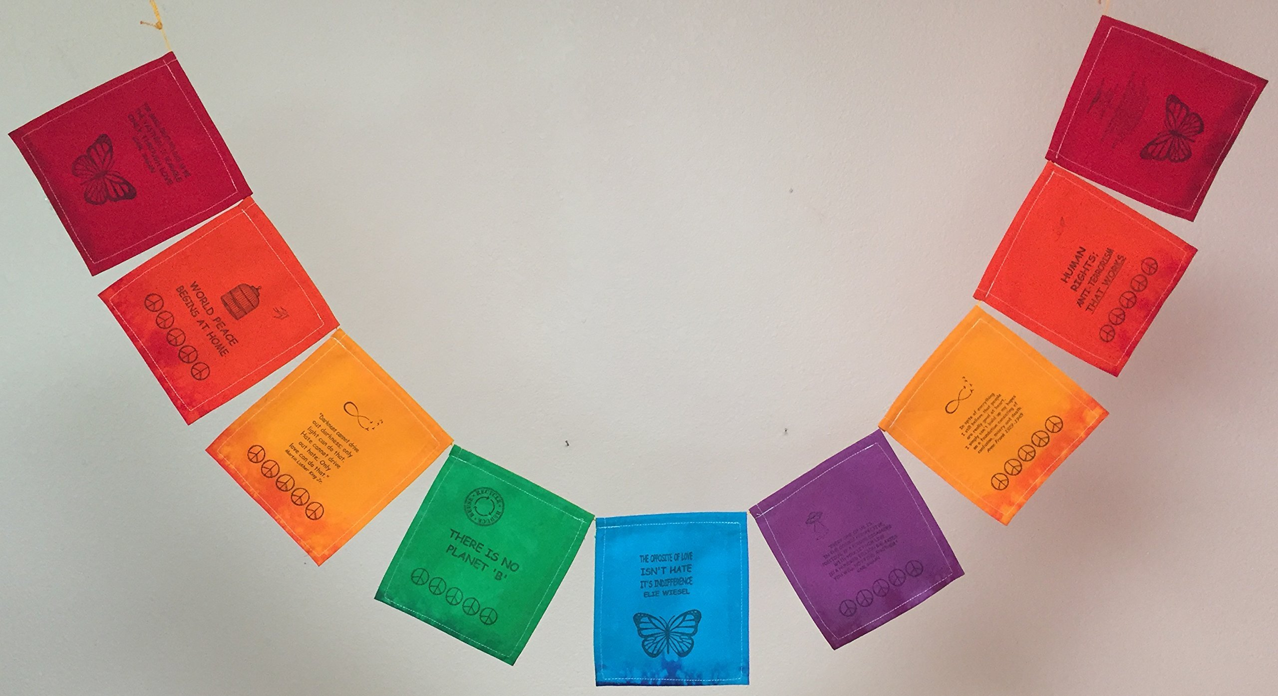 Human Rights Prayer Flag.''The opposite of love is not hate; it's indifference.'' by Guerilla Prayer Flags